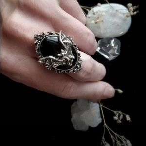 Jewelry - 💣Gothic Bat Ring Moon Ring Pagan Witch Vampire🖤